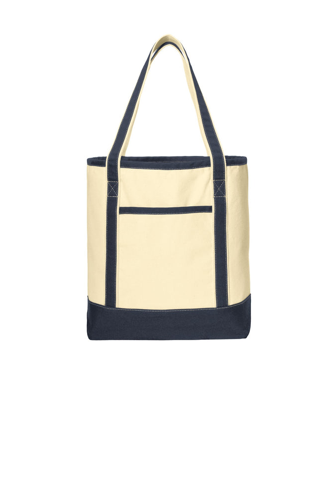 Port Authority® Large Cotton Canvas Boat Tote. BG413 (Natural/Navy)