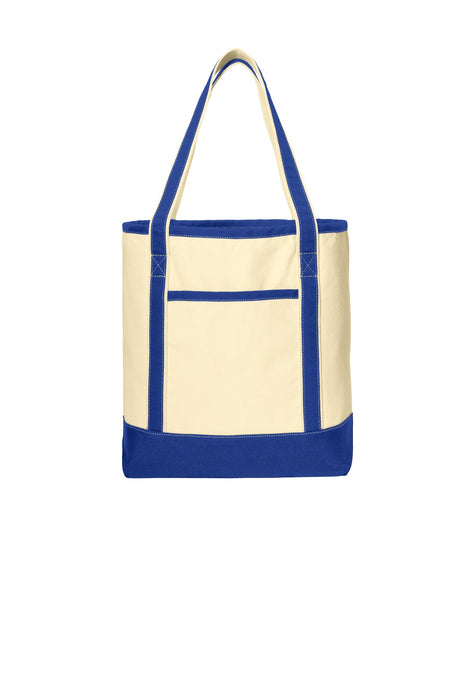Port Authority® Large Cotton Canvas Boat Tote. BG413 (Natural/True Royal)