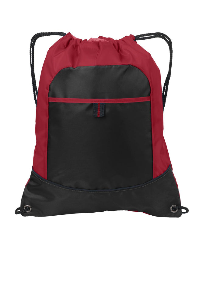 Port Authority® Pocket Cinch Pack. BG611 (True Red/Black)