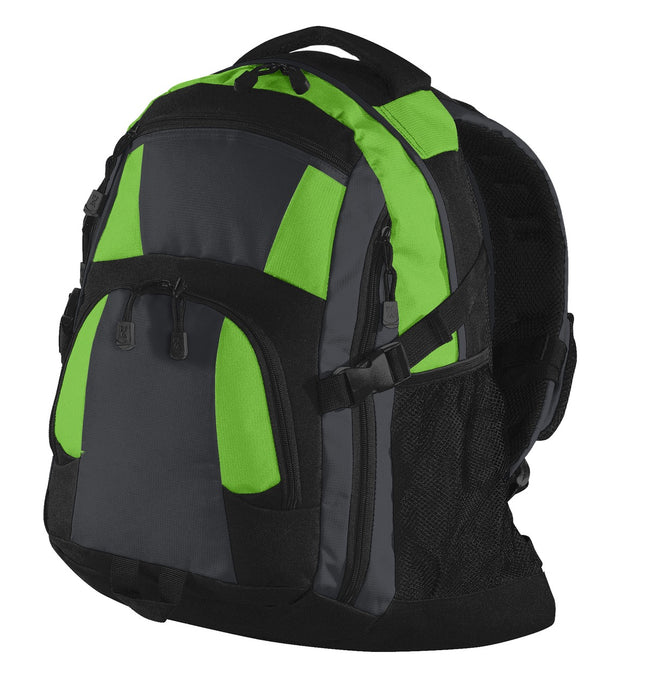 Port Authority® Urban Backpack. BG77 (Bright Lime/Magnet Grey/Black)