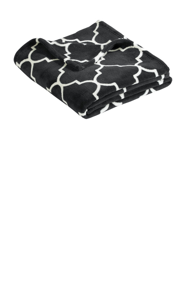 Port Authority ®  Ultra Plush Blanket. BP31 (Graphite Grey Quatrefoil)