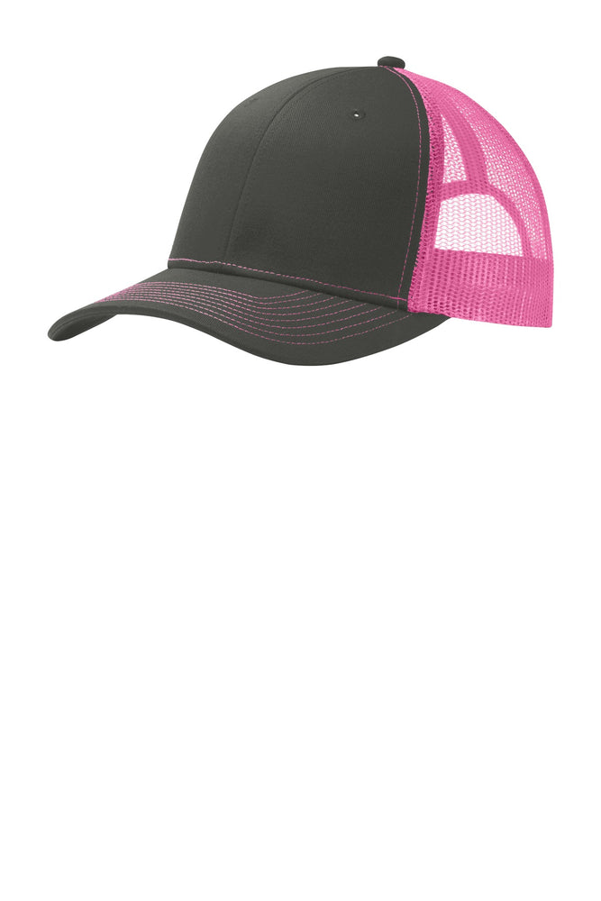 Port Authority® Snapback Trucker Cap. C112 (Grey Steel/Neon Pink)