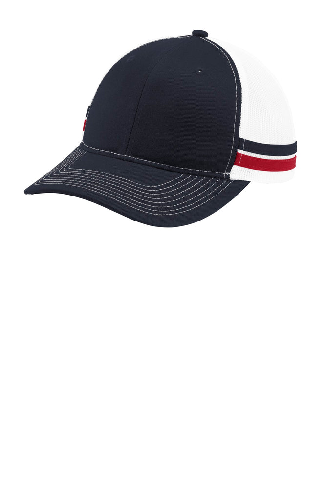 Port Authority ® Two-Stripe Snapback Trucker Cap. C113 (Rich Navy/Flame Red/White)