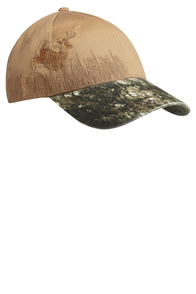 Port Authority® Embroidered Camouflage Cap. C820 (Mossy Oak New Break-up/Tan/Deer)