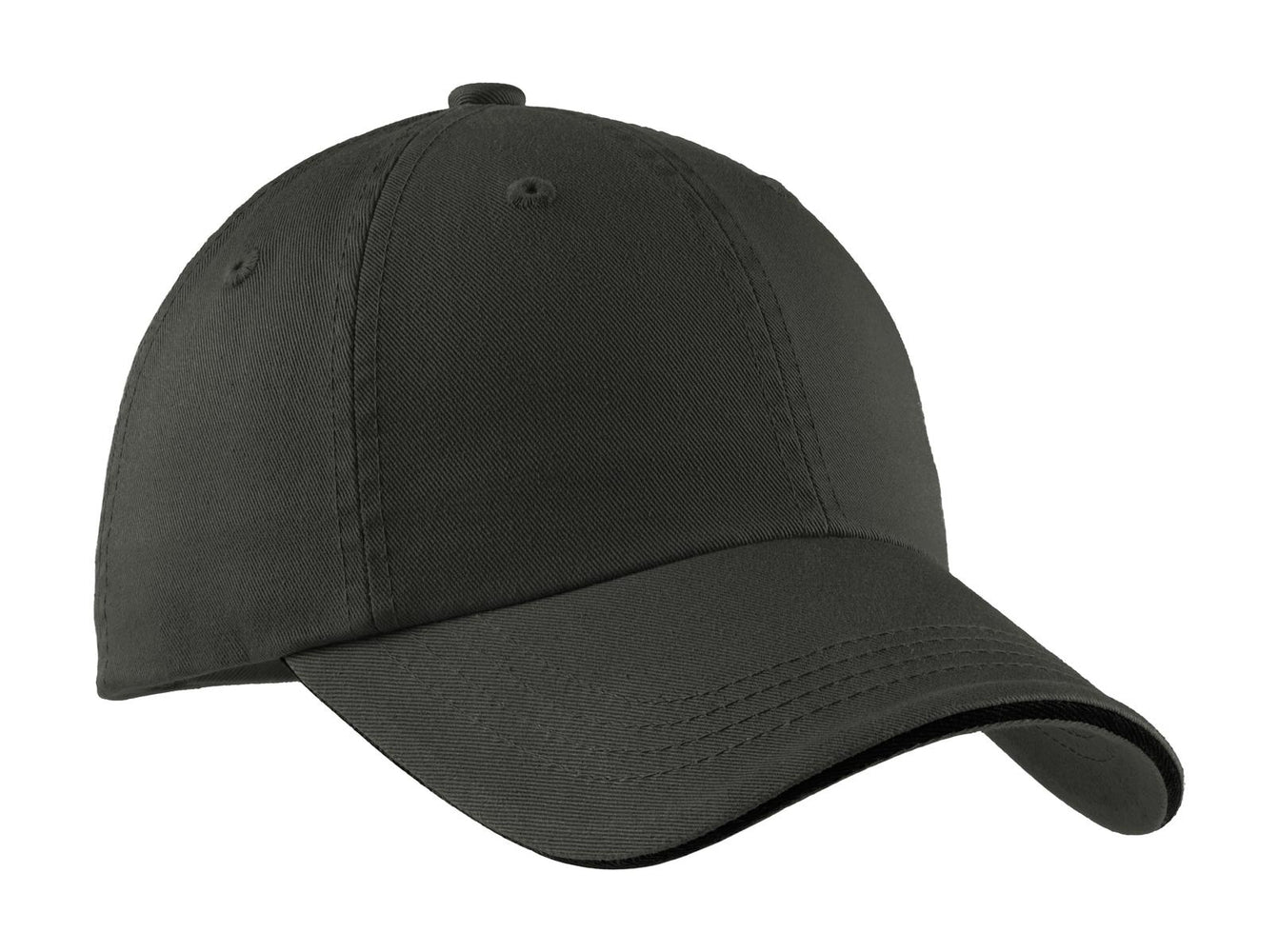 Port Authority® Sandwich Bill Cap with Striped Closure.  C830 (Charcoal/Black)