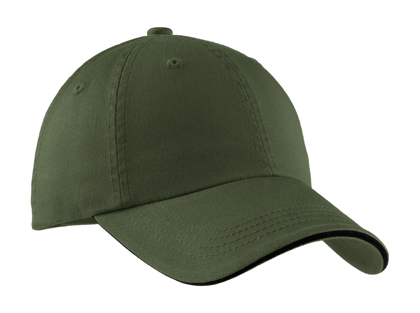 Port Authority® Sandwich Bill Cap with Striped Closure.  C830 (Olive/Black)