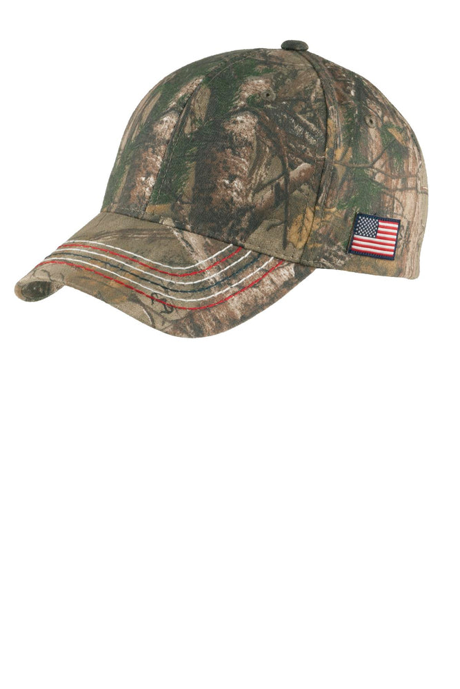 Port Authority® Americana Contrast Stitch Camouflage Cap. C909 (Realtree Xtra)