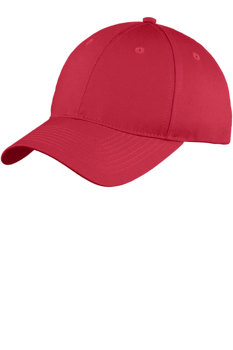 Port & Company® Youth Six-Panel Unstructured Twill Cap. YC914 (Red)