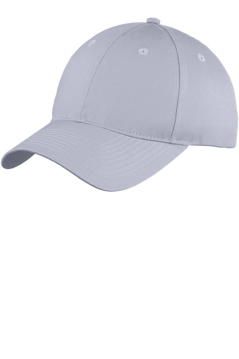 Port & Company® Youth Six-Panel Unstructured Twill Cap. YC914 (Silver)