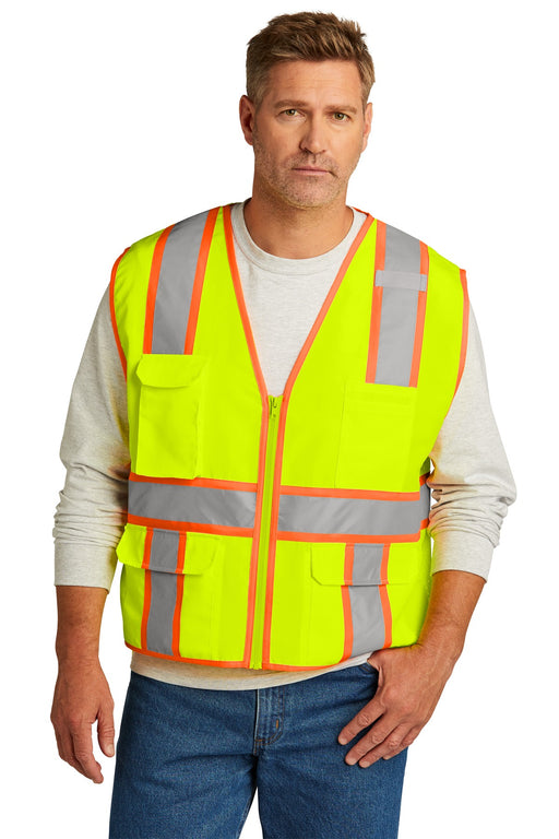CornerStone ® ANSI 107 Class 2 Surveyor Zippered Two-Tone Vest. CSV105 (Safety Yellow)