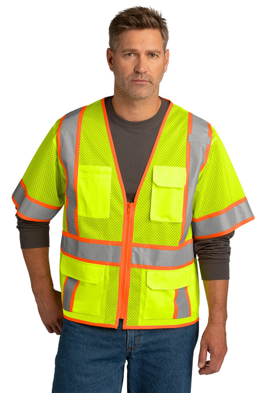 CornerStone ® ANSI 107 Class 3 Surveyor Mesh Zippered Two-Tone Short Sleeve Vest. CSV106 (Safety Yellow)