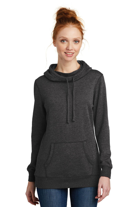 District ® Women's Lightweight Fleece Hoodie. DM493 (Heathered Black)