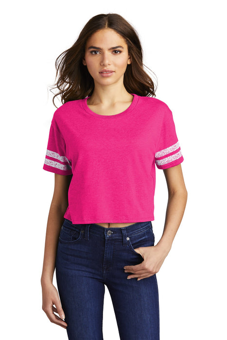 District ® Women's Scorecard Crop Tee DT488 (Heathered Dark Fuchsia/White)