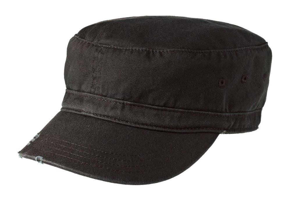 District® Distressed Military Hat.  DT605 (Black)