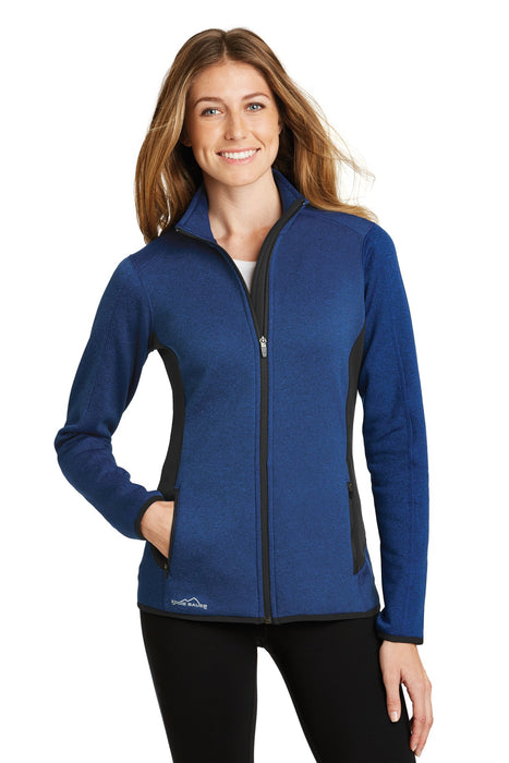 Eddie Bauer® Ladies Full-Zip Heather Stretch Fleece Jacket. EB239 (Blue Heather)