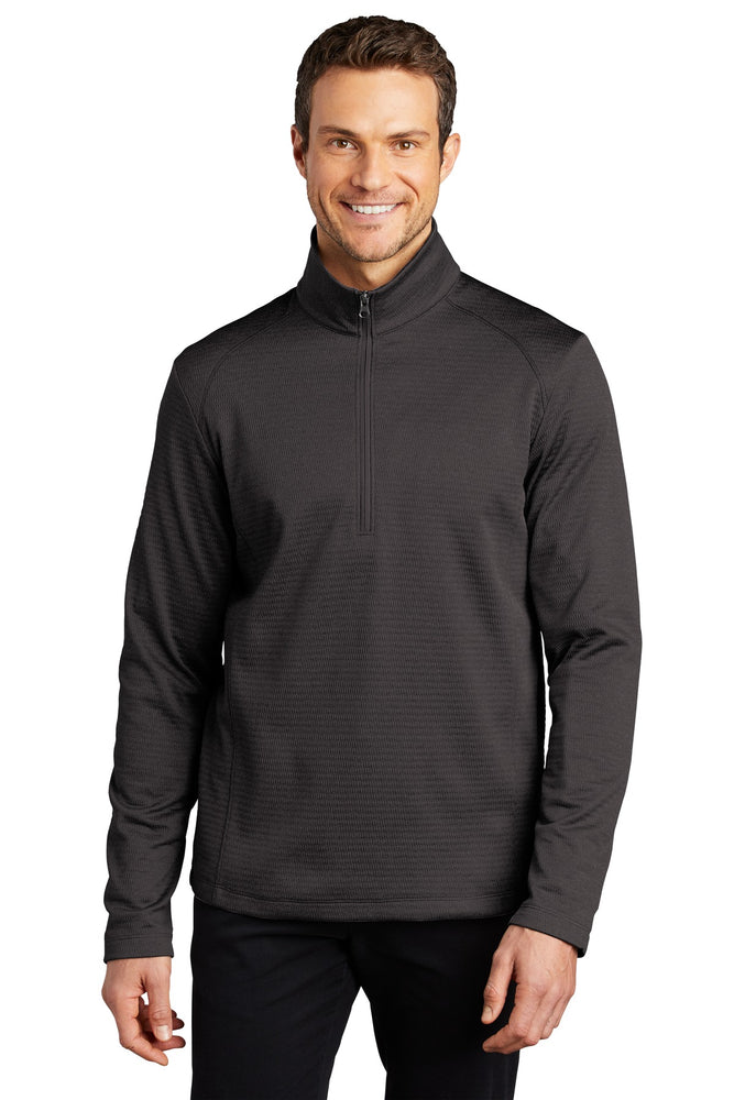 Port Authority ® Diamond Heather Fleece 1/4-Zip Pullover F248 (Dark Charcoal Heather)