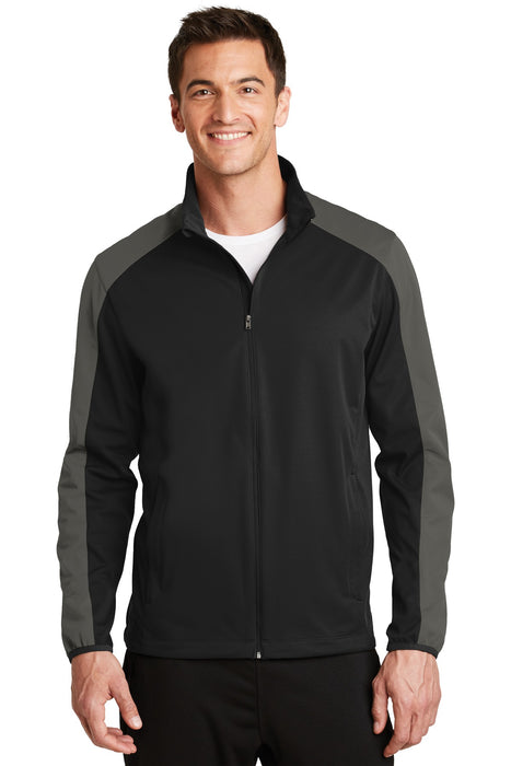 Port Authority® Active Colorblock Soft Shell Jacket. J718 (Deep Black/Grey Steel)