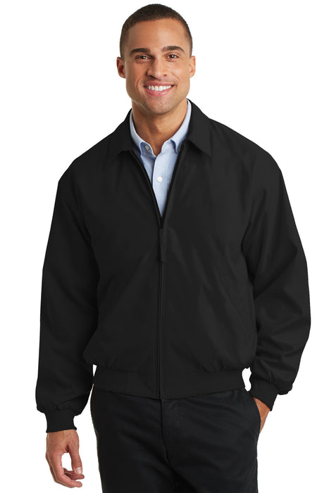 Port Authority® Casual Microfiber Jacket. J730 (Black/Solid Pewter Lining)