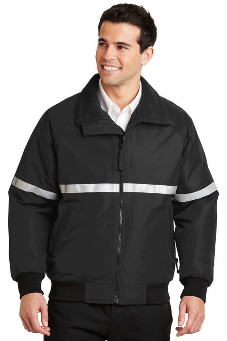 Port Authority® Challenger™ Jacket with Reflective Taping.  J754R (True Black/True Black/Reflective)