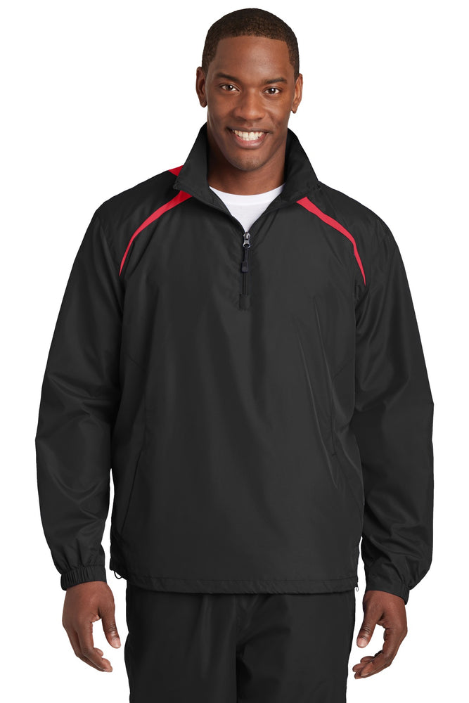 Sport-Tek® 1/2-Zip Wind Shirt. JST75 (Black/True Red)