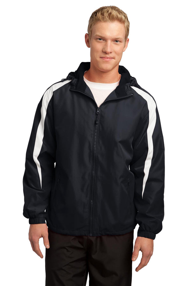 Sport-Tek® Fleece-Lined Colorblock Jacket. JST81 (Black/White)