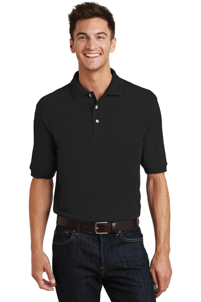 Port Authority® Heavyweight Cotton Pique Polo with Pocket.  K420P (Black)