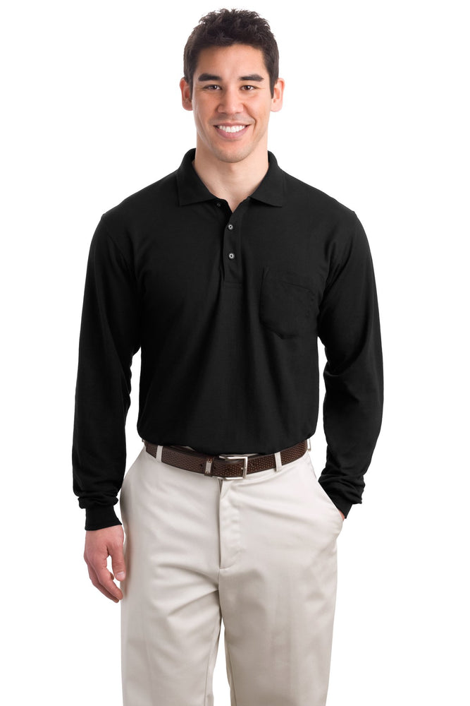 Port Authority® Long Sleeve Silk Touch™ Polo with Pocket.  K500LSP (Black)