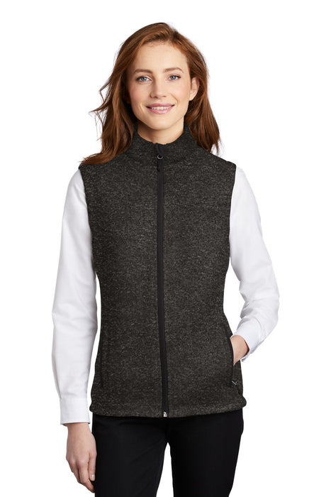 Port Authority ® Ladies Sweater Fleece Vest L236 (Black Heather)