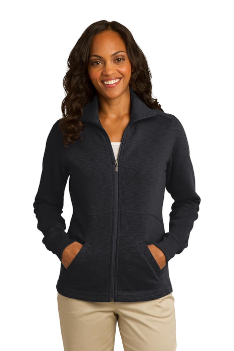 Port Authority® Ladies Slub Fleece Full-Zip Jacket. L293 (Black)