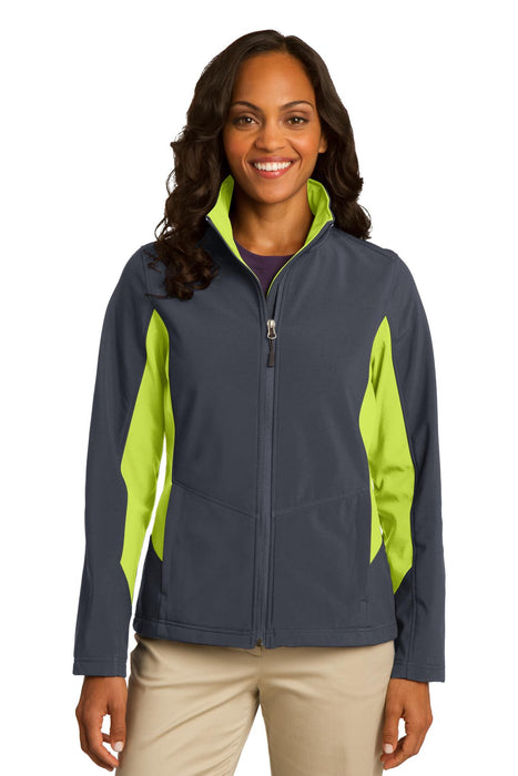 Port Authority® Ladies Core Colorblock Soft Shell Jacket. L318 (Battleship Grey/Charge Green)