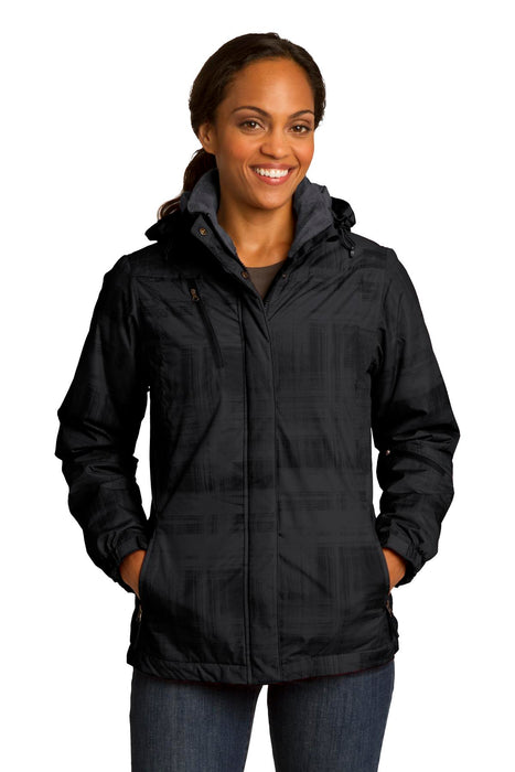 Port Authority® Ladies Brushstroke Print Insulated Jacket. L320 (Black)