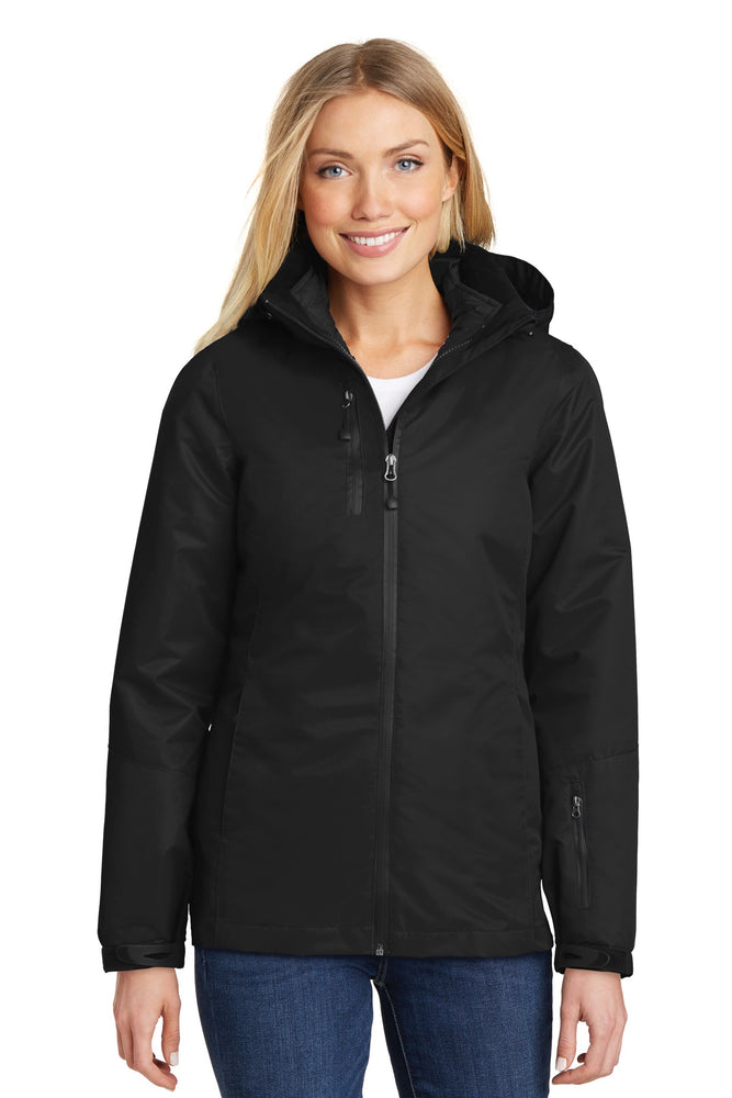 Port Authority® Ladies Vortex Waterproof 3-in-1 Jacket. L332 (Black/Black)