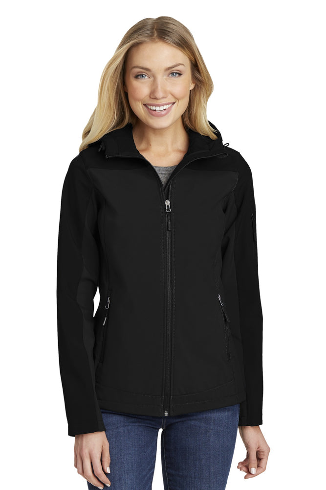 Port Authority® Ladies Hooded Core Soft Shell Jacket. L335 (Black)