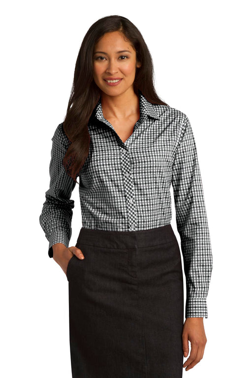 Port Authority® Ladies Long Sleeve Gingham Easy Care Shirt. L654 (Black/Charcoal)