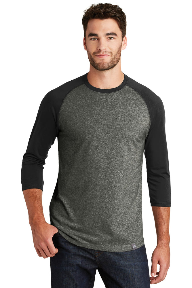 New Era ® Heritage Blend 3/4-Sleeve Baseball Raglan Tee. NEA104 (Black/Black Twist)