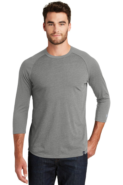 New Era ® Heritage Blend 3/4-Sleeve Baseball Raglan Tee. NEA104 (Shadow Grey Heather)