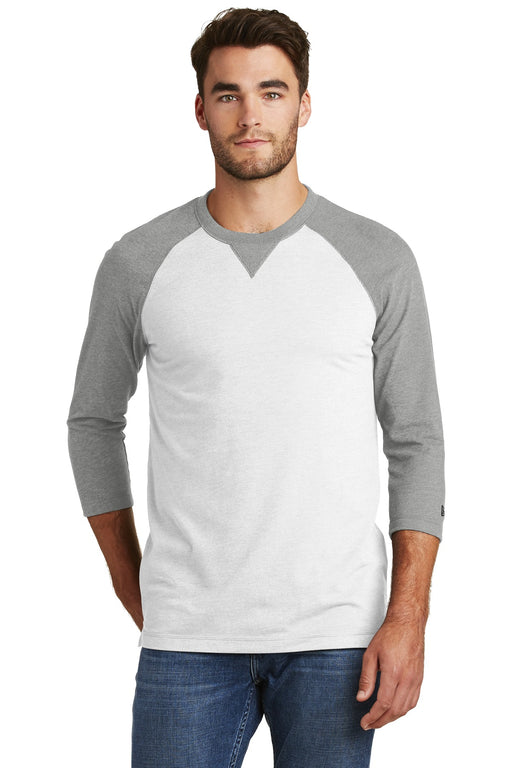 New Era ® Sueded Cotton Blend 3/4-Sleeve Baseball Raglan Tee. NEA121 (Shadow Grey Heather/White)