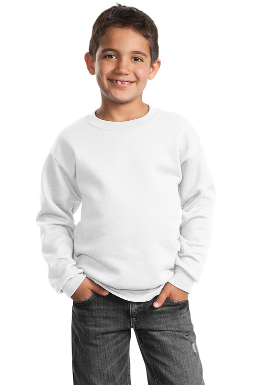 Port & Company® - Youth Core Fleece Crewneck Sweatshirt.  PC90Y (White)