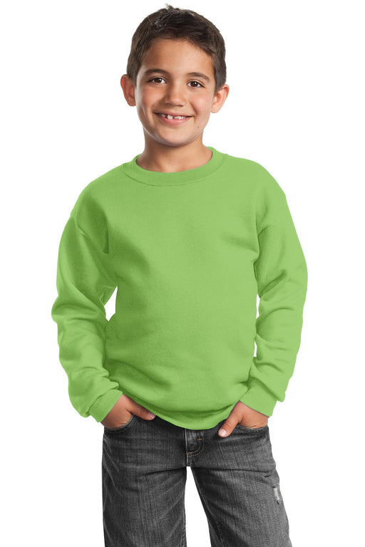 Port & Company® - Youth Core Fleece Crewneck Sweatshirt.  PC90Y (Lime)