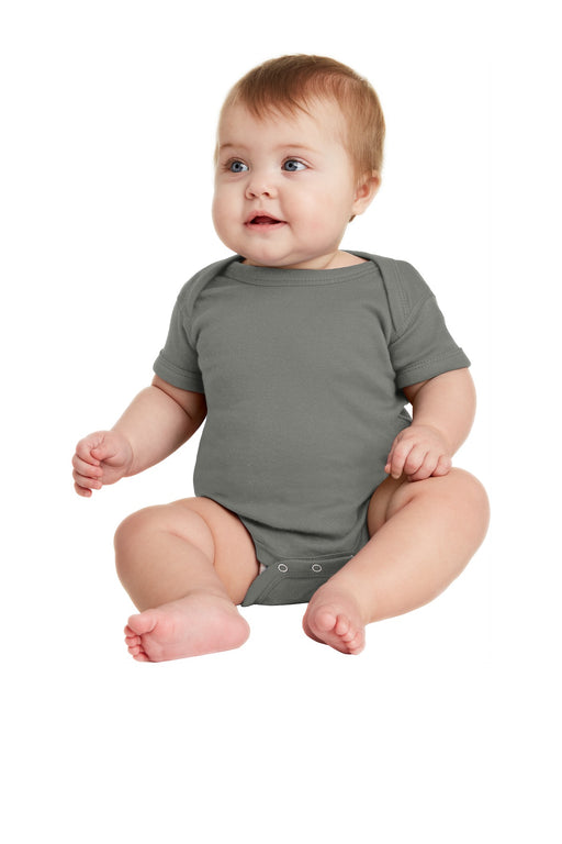 Rabbit Skins™ Infant Short Sleeve Baby Rib Bodysuit. RS4400 (Charcoal)