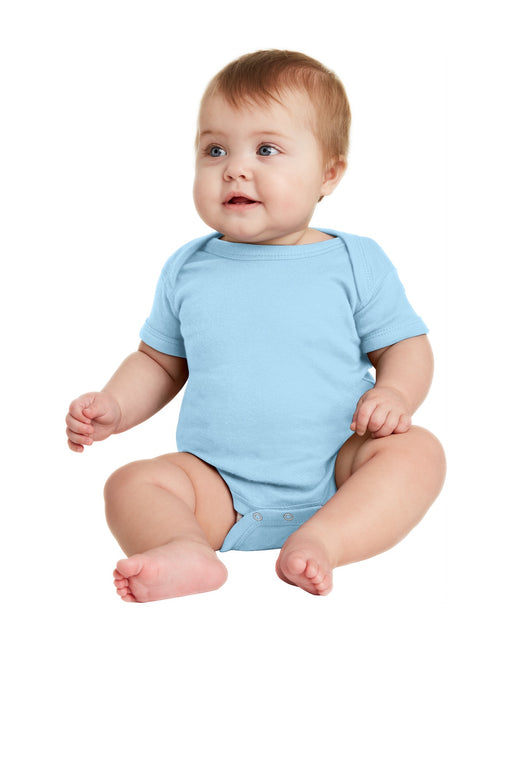 Rabbit Skins™ Infant Short Sleeve Baby Rib Bodysuit. RS4400 (Light Blue)