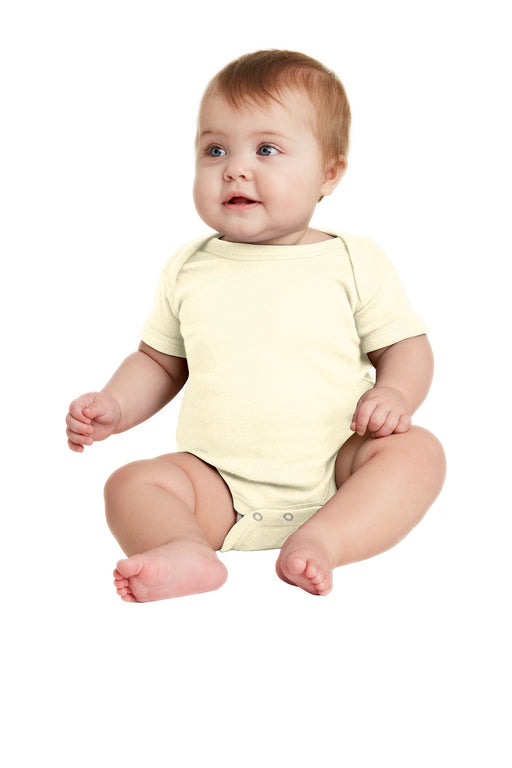 Rabbit Skins™ Infant Short Sleeve Baby Rib Bodysuit. RS4400 (Natural)