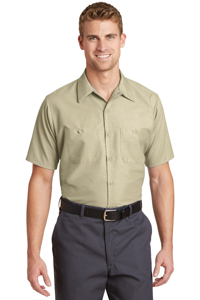 Red Kap® Long Size, Short Sleeve Industrial Work Shirt. SP24LONG (Light Tan)
