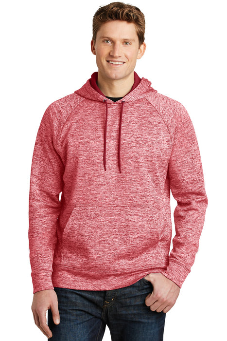 Sport-Tek® PosiCharge® Electric Heather Fleece Hooded Pullover. ST225 (Deep Red Electric)