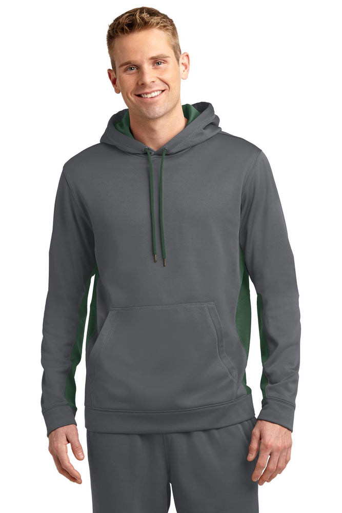 Sport-Tek® Sport-Wick® Fleece Colorblock Hooded Pullover. ST235 (Dark Smoke Grey/Forest Green)