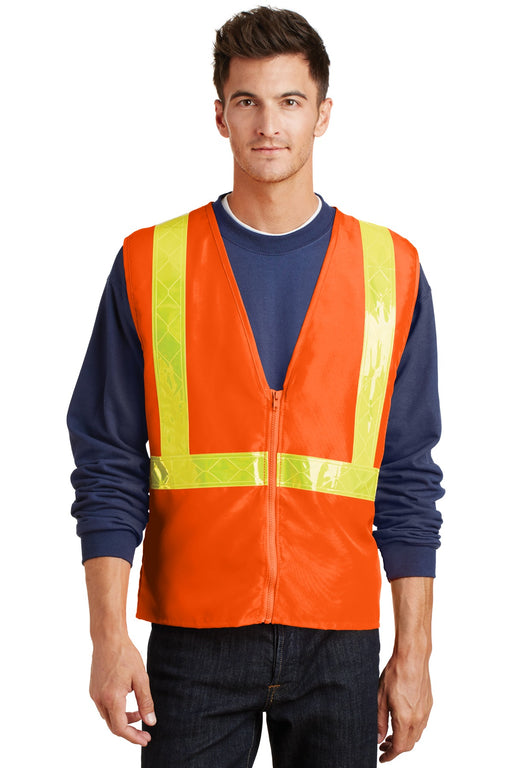Port Authority® Enhanced Visibility Vest.  SV01 (Safety Orange/Reflective)
