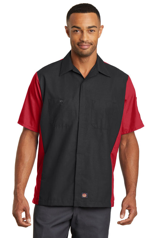 Red Kap® Short Sleeve Ripstop Crew Shirt. SY20 (Black/Red)