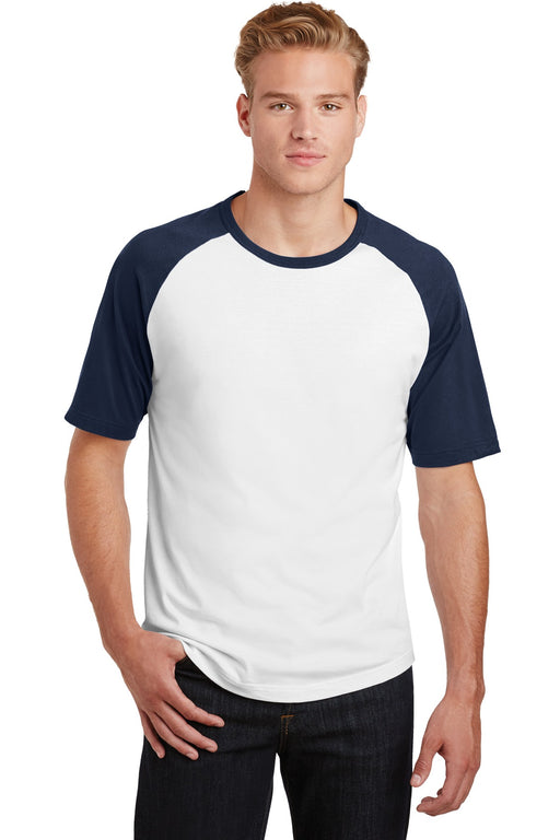 Sport-Tek® Short Sleeve Colorblock Raglan Jersey. T201 (White/Navy)