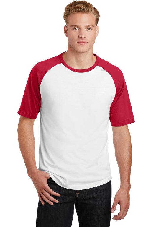 Sport-Tek® Short Sleeve Colorblock Raglan Jersey. T201 (White/Red)