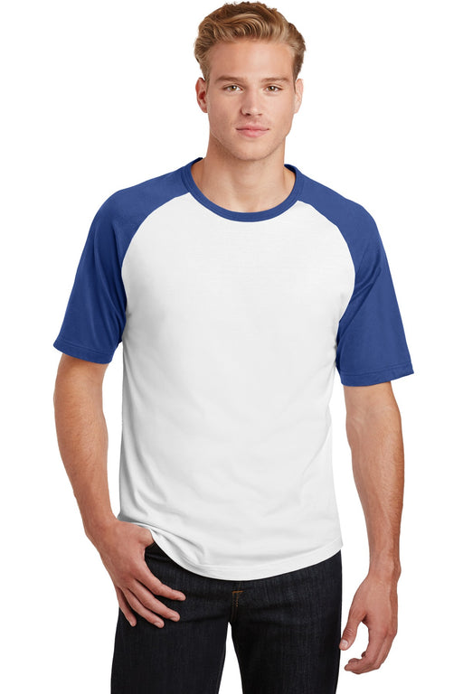 Sport-Tek® Short Sleeve Colorblock Raglan Jersey. T201 (White/Royal)